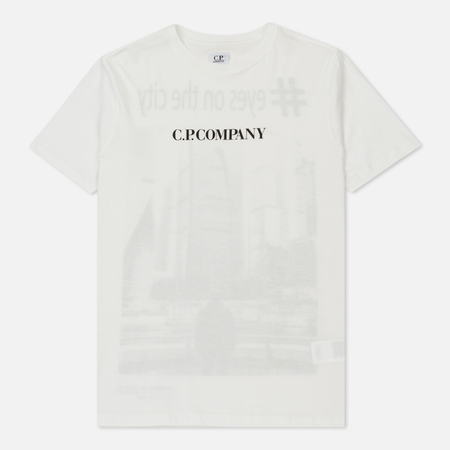 Мужская футболка C.P. Company Eyesonthecity Back Print Washed Tapioca White