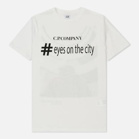 Мужская футболка C.P. Company Eyesonthecity Front And Back Print Washed Tapioca White