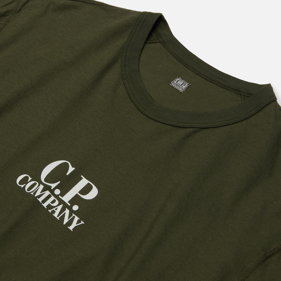 Мужская футболка C.P. Company Garment Dyed Chest Logo Forest Night