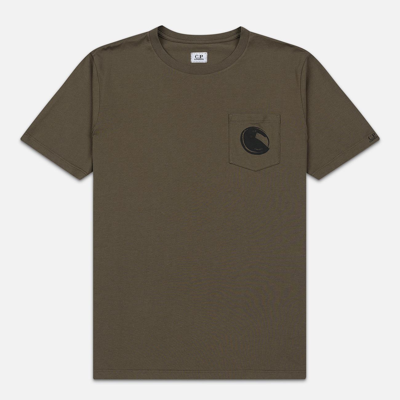 Мужская футболка C.P. Company Lens Pocket Print Regular Fit Dusty Olive