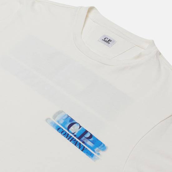 Мужская футболка C.P. Company Treated Blurred Logo Gauze White