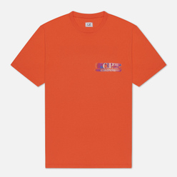 Мужская футболка C.P. Company Treated Blurred Logo Spicy Orange