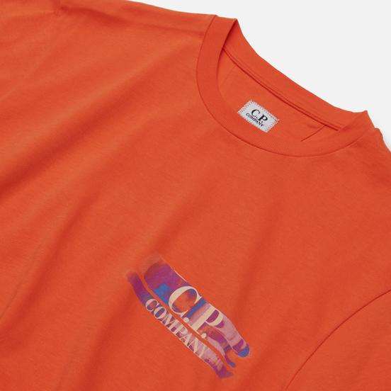 Мужская футболка C.P. Company Treated Blurred Logo Spicy Orange