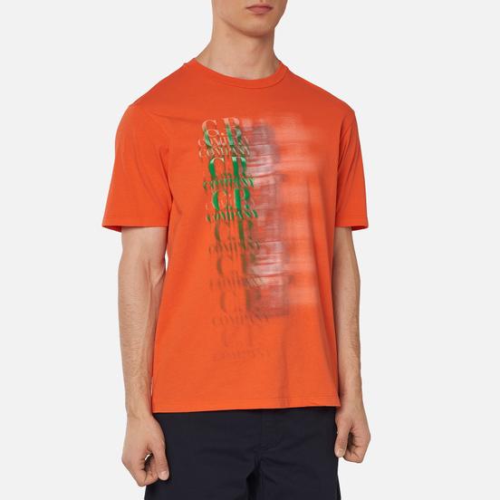 Мужская футболка C.P. Company Treated Blurred More Logo Spicy Orange
