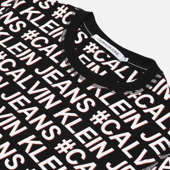 Мужская футболка Calvin Klein Jeans Logo All Over Print Black Exploded Hashtag