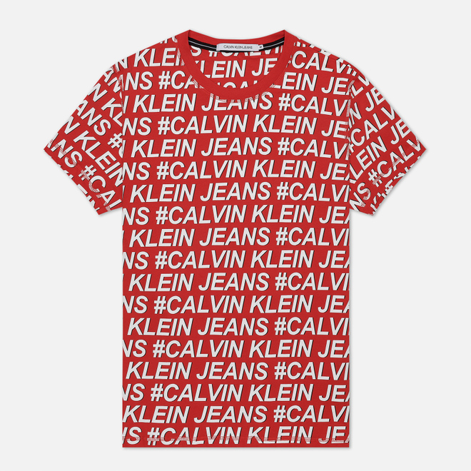 Мужская футболка Calvin Klein Jeans Logo All Over Print Red Exploded Hashtag