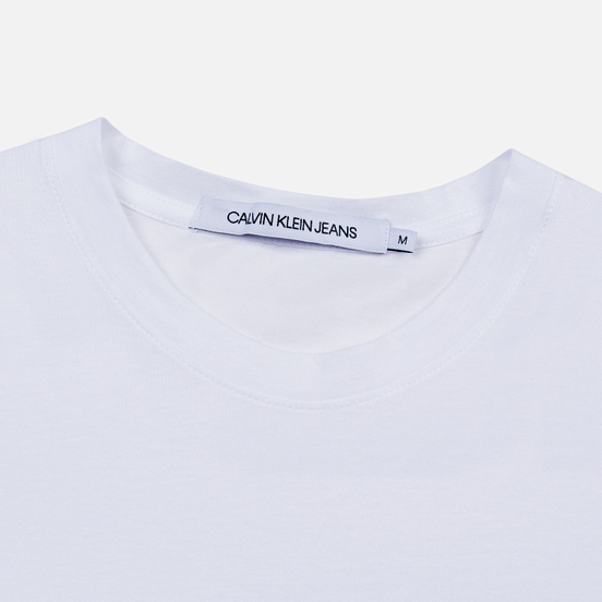 Мужская футболка Calvin Klein Jeans Slim Pocket Mirrored Monogram Logo Bright White/Black