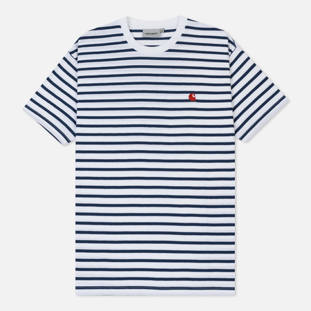 Мужская футболка Carhartt WIP Champ Stripe Blue/White/Goji