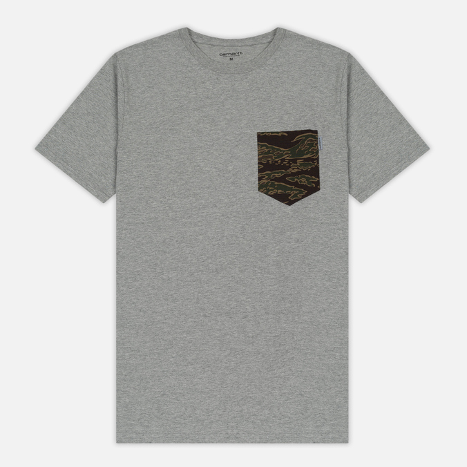 Мужская футболка Carhartt WIP Lester Pocket Grey Heather/Camo Tiger Laurel