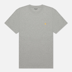Мужская футболка Carhartt WIP S/S Chase Grey Heather/Gold