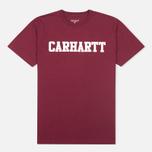 Carhartt WIP S/S College Men's T-shirt Cordovan/White photo- 0