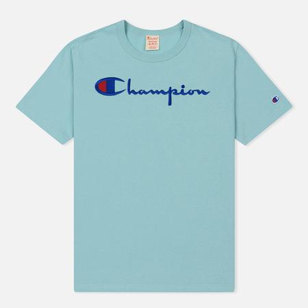 Мужская футболка Champion Reverse Weave Classic Crew Neck Script Logo Aqua