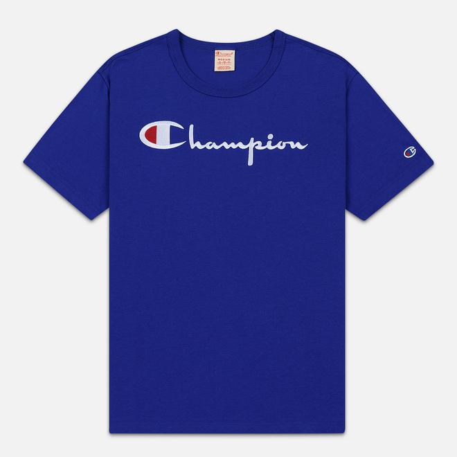 Мужская футболка Champion Reverse Weave Classic Crew Neck Script Logo Clematis Blue