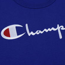 Мужская футболка Champion Reverse Weave Classic Crew Neck Script Logo Clematis Blue фото- 2