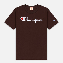 Мужская футболка Champion Reverse Weave Classic Crew Neck Script Logo Brown фото- 0