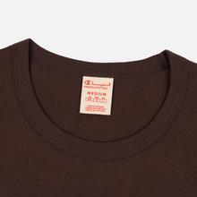 Мужская футболка Champion Reverse Weave Classic Crew Neck Script Logo Brown фото- 1