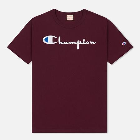 Мужская футболка Champion Reverse Weave Classic Crew Neck Script Logo Burgundy