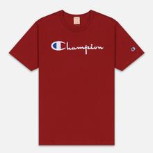 Мужская футболка Champion Reverse Weave Classic Crew Neck Script Logo Dark Red фото- 0