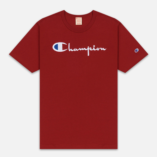 Мужская футболка Champion Reverse Weave Classic Crew Neck Script Logo Dark Red
