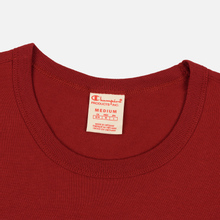 Мужская футболка Champion Reverse Weave Classic Crew Neck Script Logo Dark Red фото- 1