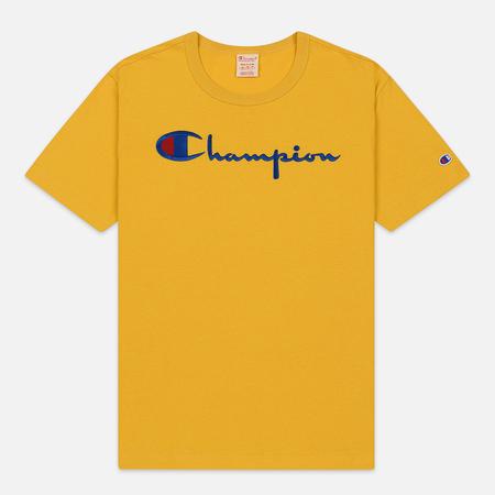 Мужская футболка Champion Reverse Weave Classic Crew Neck Script Logo Golden Rod