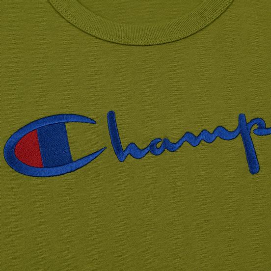 Мужская футболка Champion Reverse Weave Classic Crew Neck Script Logo Guacamole
