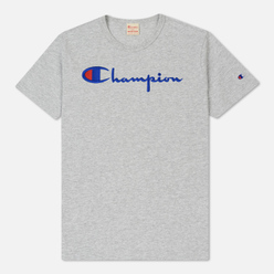 Мужская футболка Champion Reverse Weave Classic Crew Neck Script Logo Heather Grey