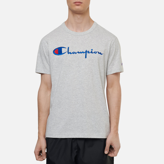 Мужская футболка Champion Reverse Weave Classic Crew Neck Script Logo Light Grey