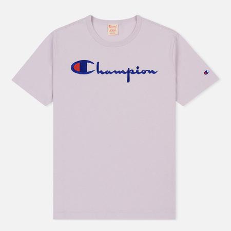 Мужская футболка Champion Reverse Weave Classic Crew Neck Script Logo Lavender