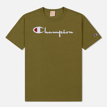 Мужская футболка Champion Reverse Weave Classic Crew Neck Script Logo Light Brown