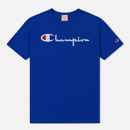 Мужская футболка Champion Reverse Weave Classic Crew Neck Script Logo Nautical Blue
