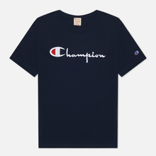 Мужская футболка Champion Reverse Weave Classic Crew Neck Script Logo Navy фото- 0