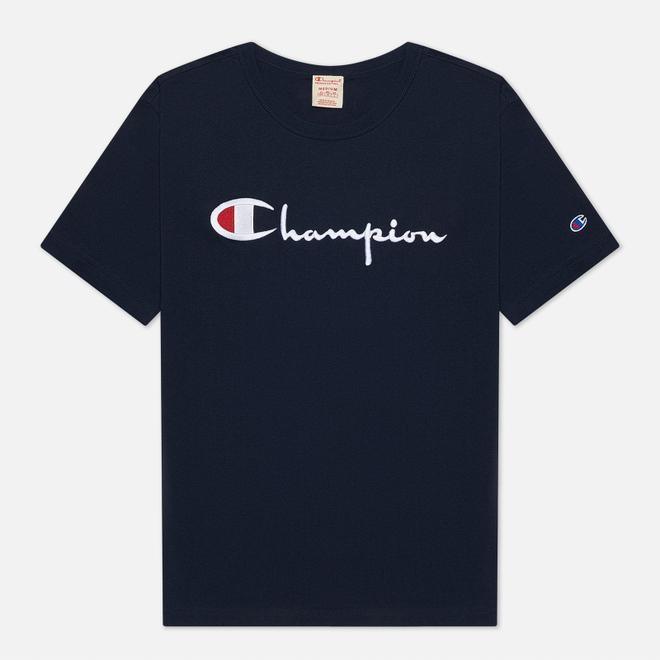 Мужская футболка Champion Reverse Weave Classic Crew Neck Script Logo Navy