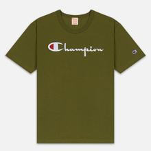 Мужская футболка Champion Reverse Weave Classic Crew Neck Script Logo Olive Green фото- 0