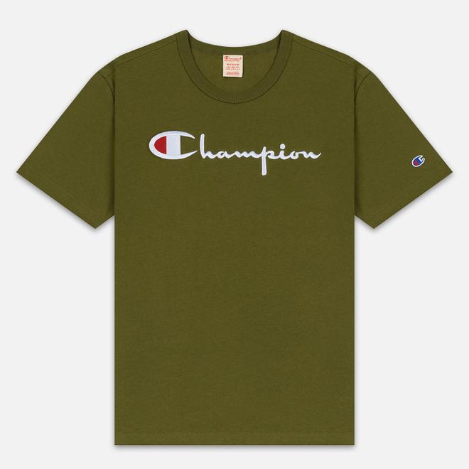 Мужская футболка Champion Reverse Weave Classic Crew Neck Script Logo Olive Green