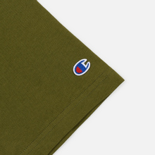Мужская футболка Champion Reverse Weave Classic Crew Neck Script Logo Olive Green фото- 3
