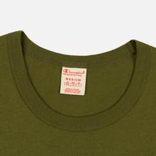 Мужская футболка Champion Reverse Weave Classic Crew Neck Script Logo Olive Green фото- 1