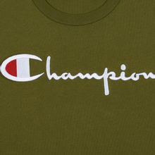 Мужская футболка Champion Reverse Weave Classic Crew Neck Script Logo Olive Green фото- 2