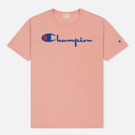 Мужская футболка Champion Reverse Weave Classic Crew Neck Script Logo Pink