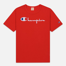 Мужская футболка Champion Reverse Weave Classic Crew Neck Script Logo Racing Red фото- 0