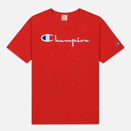 Мужская футболка Champion Reverse Weave Classic Crew Neck Script Logo Racing Red