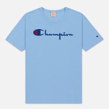 Мужская футболка Champion Reverse Weave Classic Crew Neck Script Logo Blue Bell фото- 0