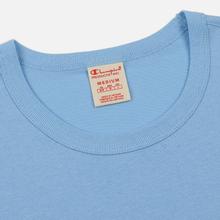 Мужская футболка Champion Reverse Weave Classic Crew Neck Script Logo Blue Bell фото- 1