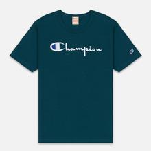 Мужская футболка Champion Reverse Weave Classic Crew Neck Script Logo Teal фото- 0