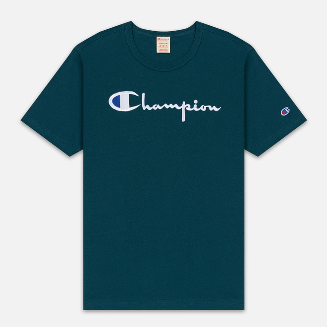 Мужская футболка Champion Reverse Weave Classic Crew Neck Script Logo Teal