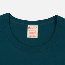 Мужская футболка Champion Reverse Weave Classic Crew Neck Script Logo Teal фото- 1