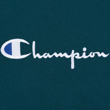Мужская футболка Champion Reverse Weave Classic Crew Neck Script Logo Teal фото- 2