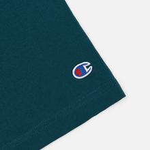 Мужская футболка Champion Reverse Weave Classic Crew Neck Script Logo Teal фото- 3