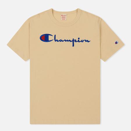 Мужская футболка Champion Reverse Weave Classic Crew Neck Script Logo Wheat