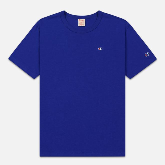 Мужская футболка Champion Reverse Weave Crew Neck Back Script Logo Clematis Blue